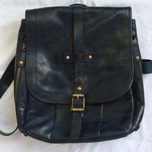Frye Parker leather backpack navy blue